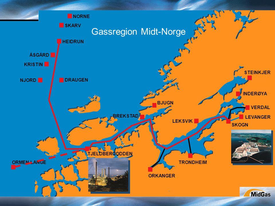 NORNE SKARV HEIDRUN ÅSGÅRD KRISTIN NJORD DRAUGEN ORMEN LANGE TJELDBERGODDEN BREKSTAD BJUGN ORKANGER TRONDHEIM INDERØYA STEINKJER LEKSVIK SKOGN LEVANGER VERDAL Gassregion Midt-Norge
