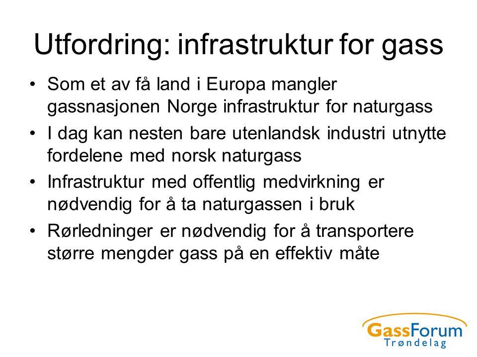 Utfordring: infrastruktur for gass •Som et av få land i Europa mangler gassnasjonen Norge infrastruktur for naturgass •I dag kan nesten bare utenlands