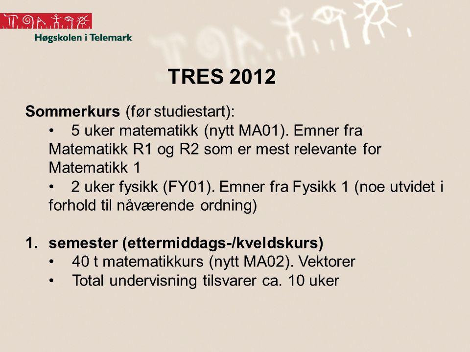 Sommerkurs (før studiestart): • 5 uker matematikk (nytt MA01). Emner fra Matematikk R1 og R2 som er mest relevante for Matematikk 1 • 2 uker fysikk (F
