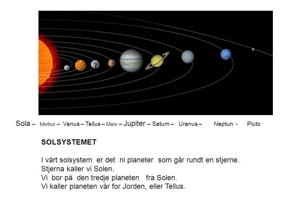 SOLSYSTEMET I vårt solsystem er det ni planeter som går rundt en stjerne.