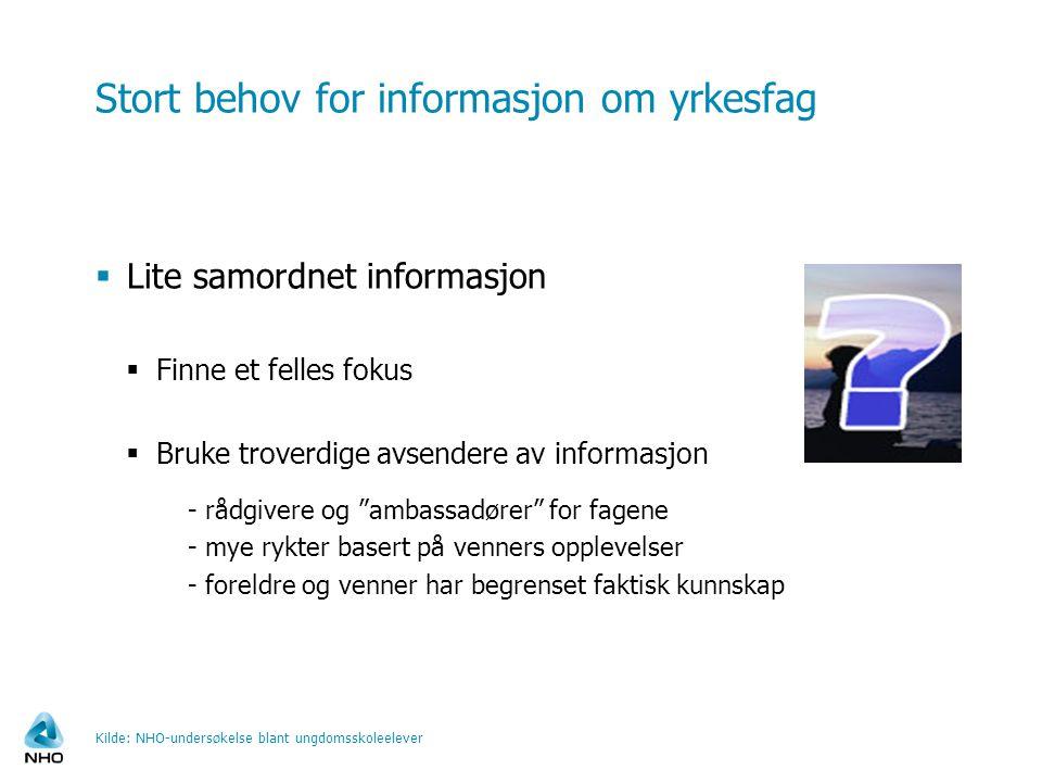 Stort behov for informasjon om yrkesfag  Lite samordnet informasjon  Finne et felles fokus  Bruke troverdige avsendere av informasjon - rådgivere o