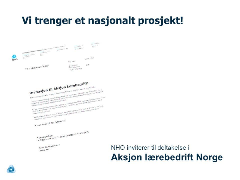 Vi trenger et nasjonalt prosjekt! NHO inviterer til deltakelse i Aksjon lærebedrift Norge