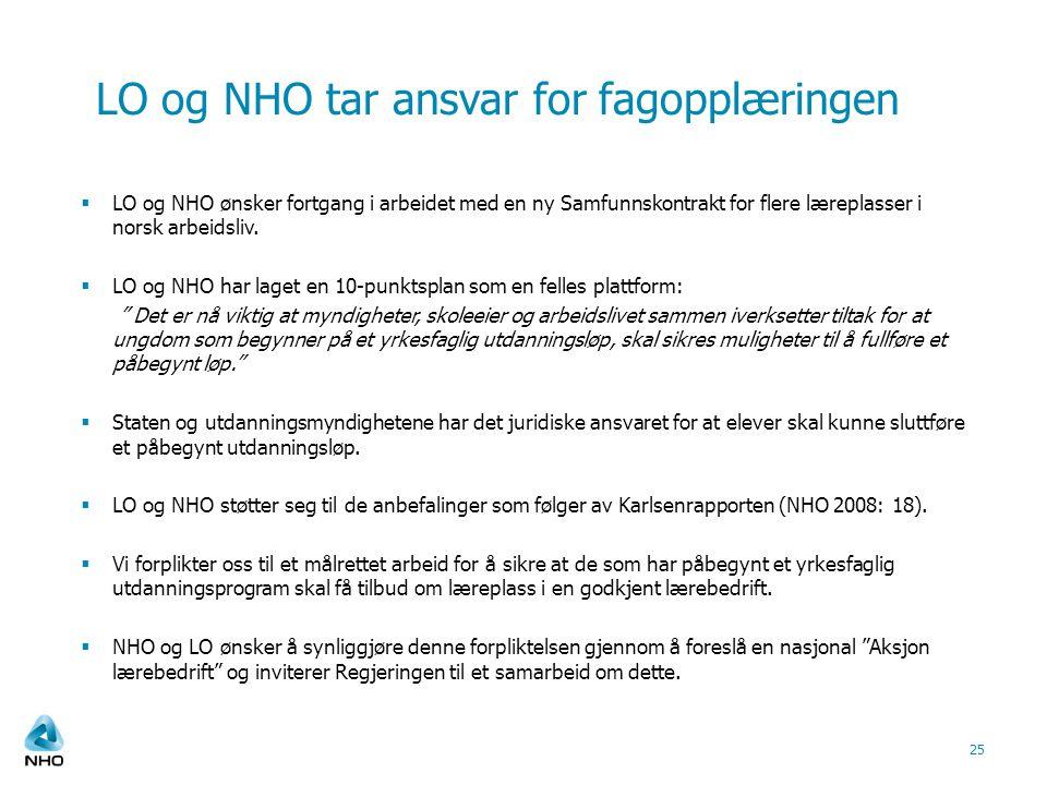 LO og NHO tar ansvar for fagopplæringen  LO og NHO ønsker fortgang i arbeidet med en ny Samfunnskontrakt for flere læreplasser i norsk arbeidsliv. 