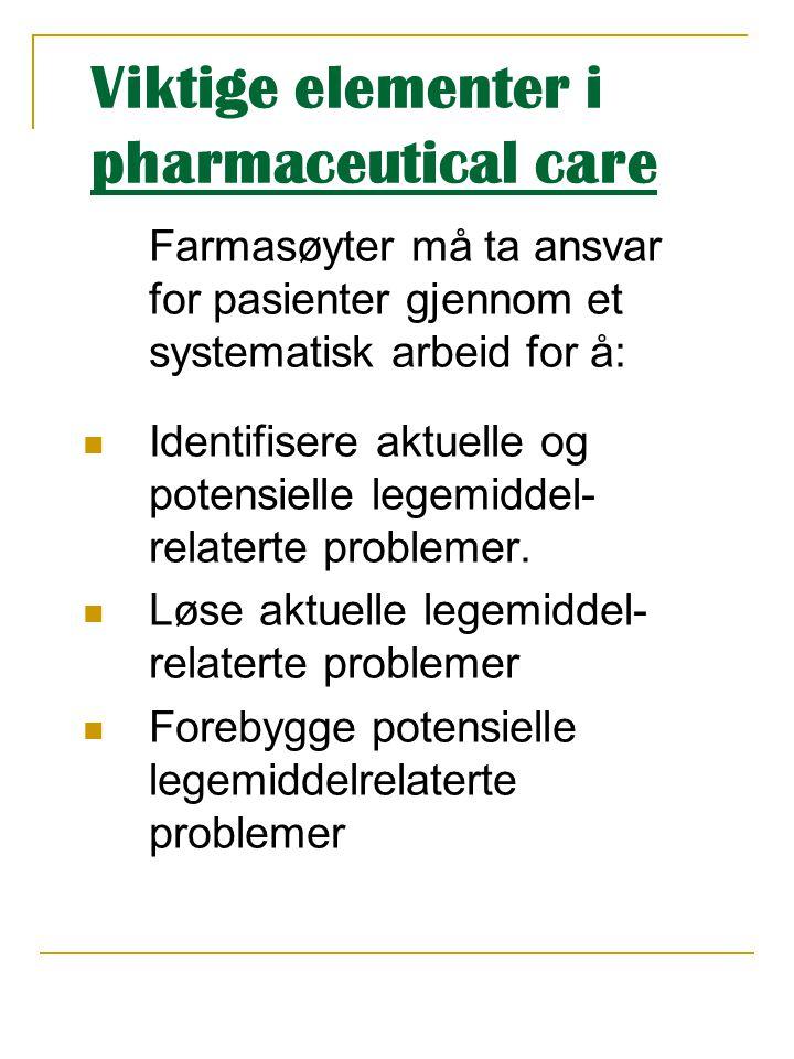 Viktige elementer i pharmaceutical care Farmasøyter må ta ansvar for pasienter gjennom et systematisk arbeid for å:  Identifisere aktuelle og potensi