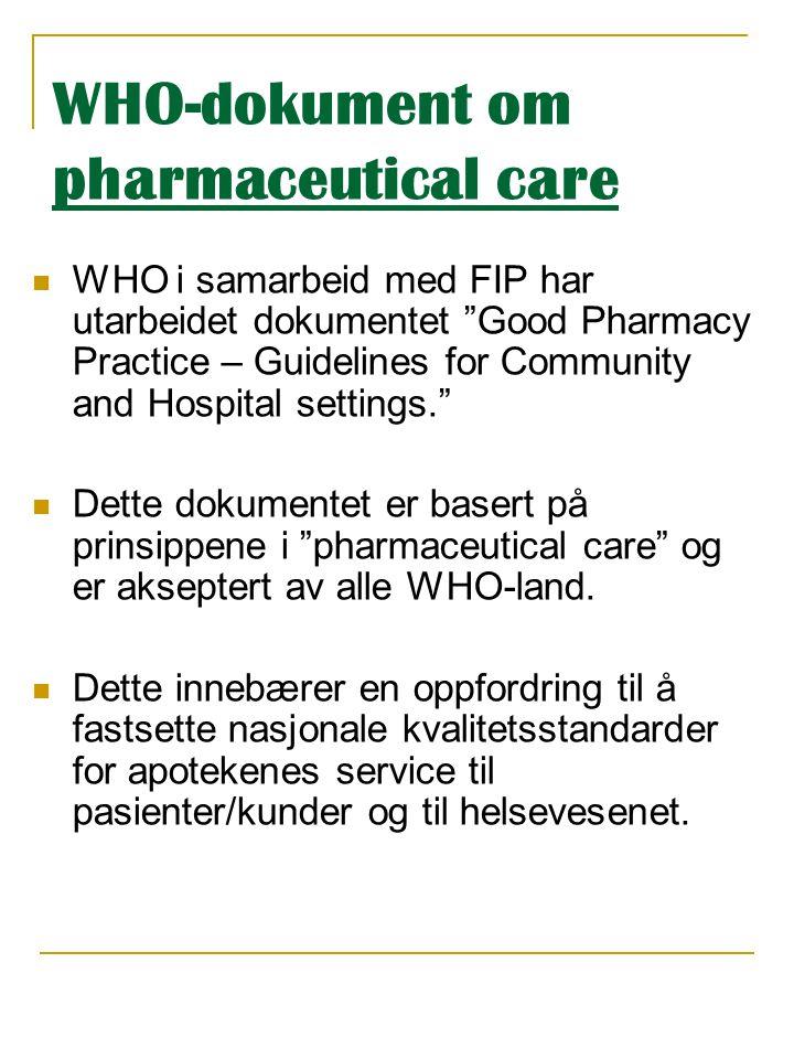 """WHO-dokument om pharmaceutical care  WHO i samarbeid med FIP har utarbeidet dokumentet """"Good Pharmacy Practice – Guidelines for Community and Hospita"""