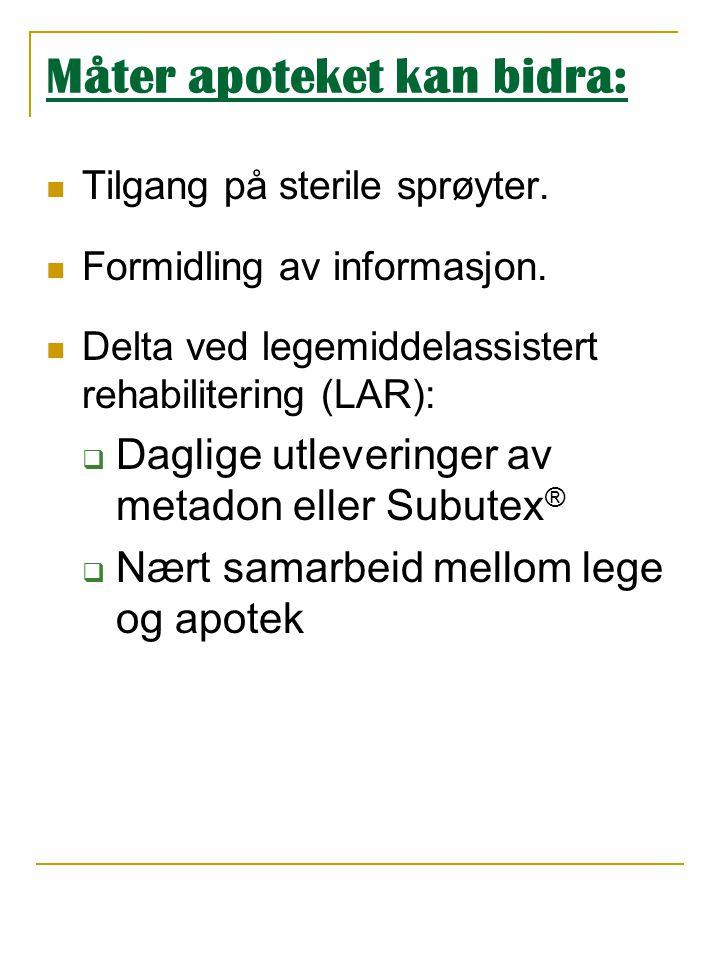 Måter apoteket kan bidra:  Tilgang på sterile sprøyter.  Formidling av informasjon.  Delta ved legemiddelassistert rehabilitering (LAR):  Daglige