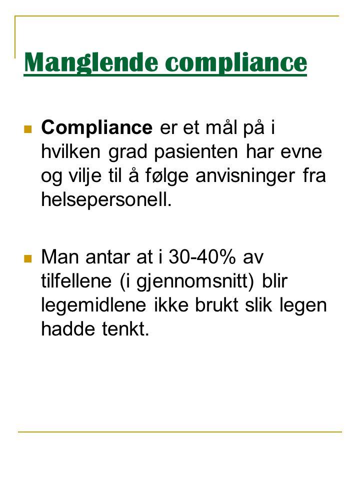 Manglende compliance  Compliance er et mål på i hvilken grad pasienten har evne og vilje til å følge anvisninger fra helsepersonell.  Man antar at i
