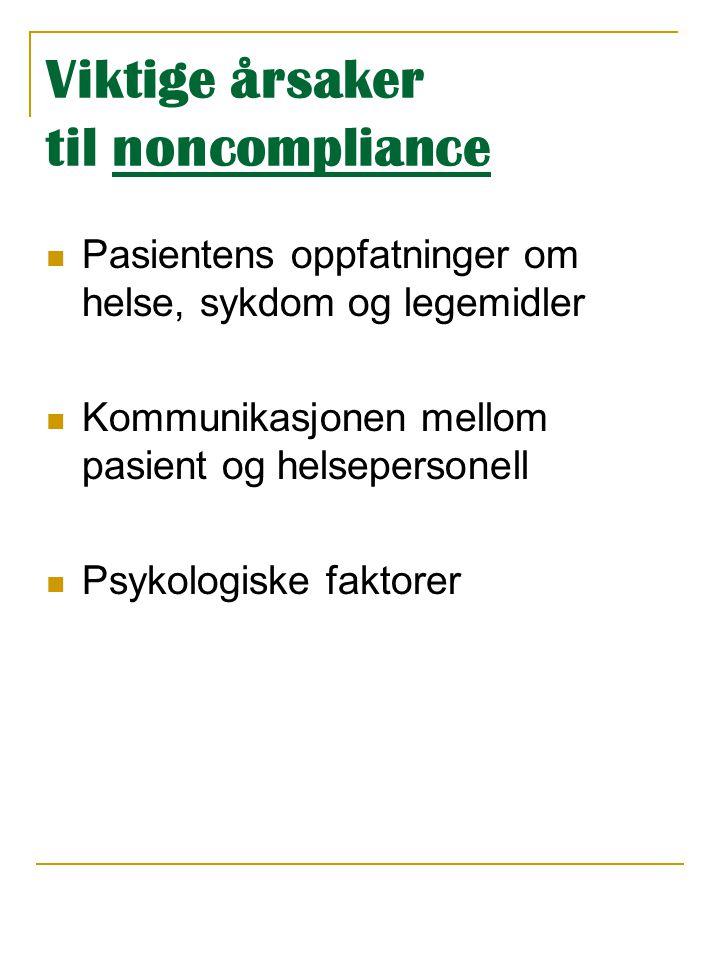 Viktige årsaker til noncompliance  Pasientens oppfatninger om helse, sykdom og legemidler  Kommunikasjonen mellom pasient og helsepersonell  Psykol