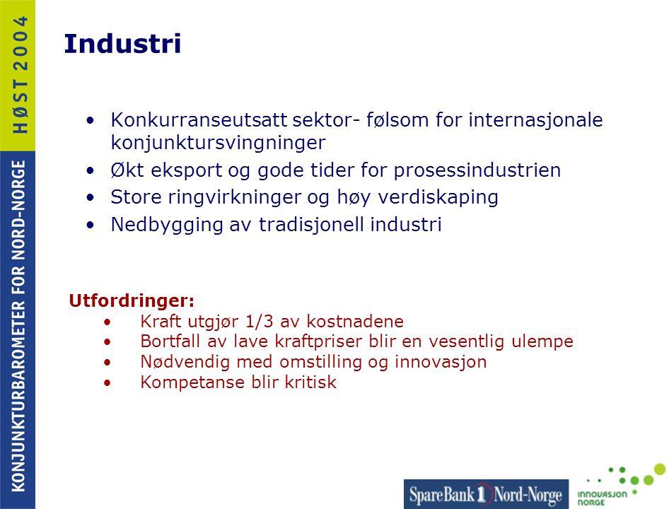 Industri •Konkurranseutsatt sektor- følsom for internasjonale konjunktursvingninger •Økt eksport og gode tider for prosessindustrien •Store ringvirkni