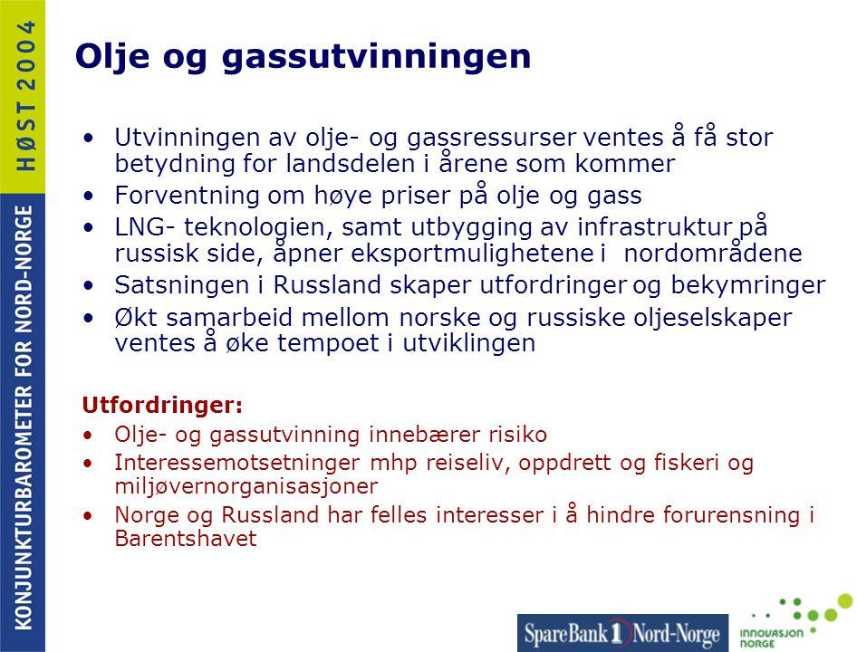 Olje og gassutvinningen •Utvinningen av olje- og gassressurser ventes å få stor betydning for landsdelen i årene som kommer •Forventning om høye prise
