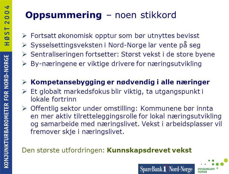 Oppsummering – noen stikkord  Fortsatt økonomisk opptur som bør utnyttes bevisst  Sysselsettingsveksten i Nord-Norge lar vente på seg  Sentraliseri