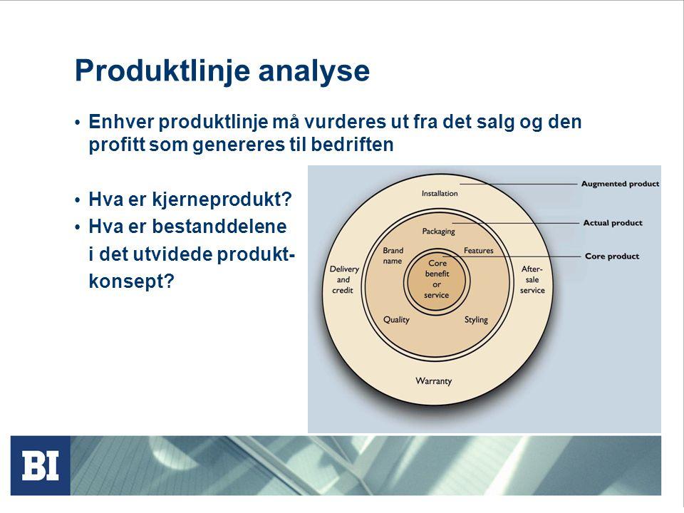 Produktlinje analyse • Enhver produktlinje må vurderes ut fra det salg og den profitt som genereres til bedriften • Hva er kjerneprodukt? • Hva er bes