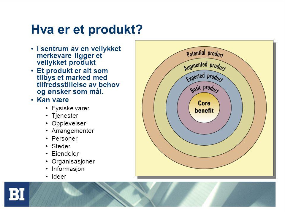 Hva er et produkt? • I sentrum av en vellykket merkevare ligger et vellykket produkt • Et produkt er alt som tilbys et marked med tilfredsstillelse av