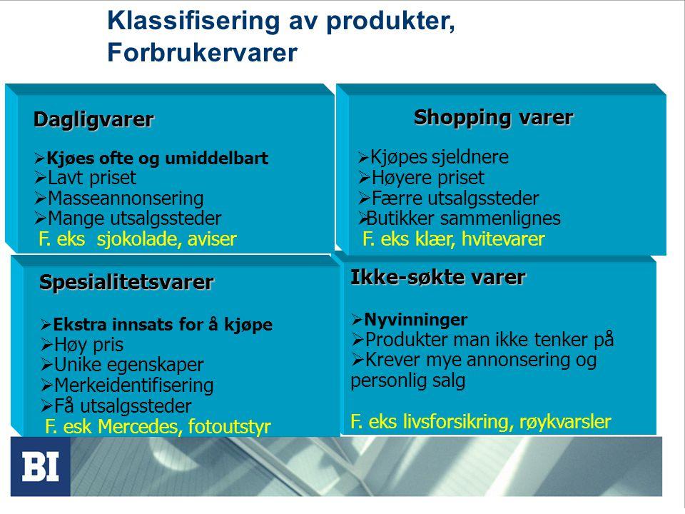 Klassifisering av varer, Industrivarer Materialer og deler Rekvisita/ service Kapitalvarer