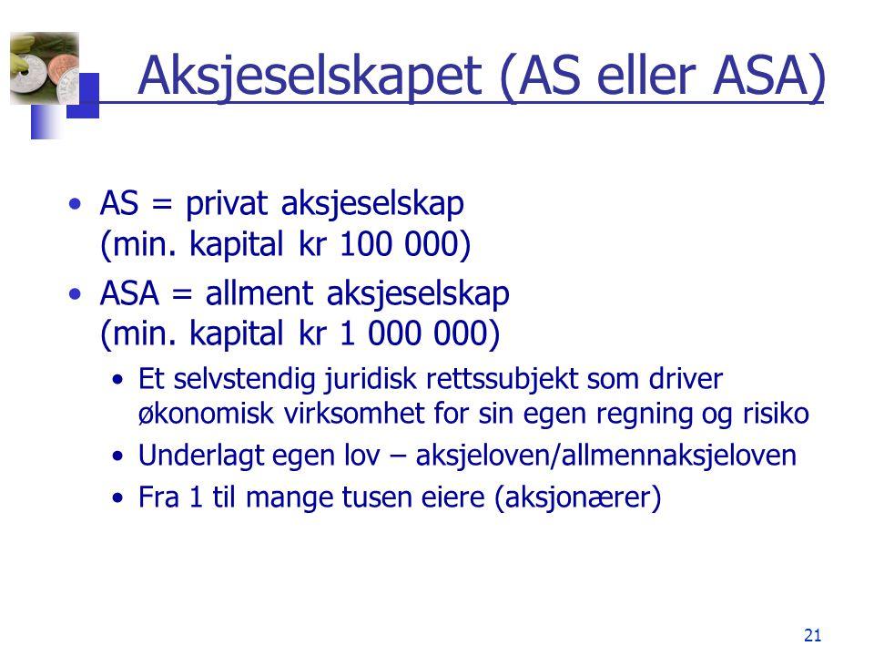 21 Aksjeselskapet (AS eller ASA) •AS = privat aksjeselskap (min. kapital kr 100 000) •ASA = allment aksjeselskap (min. kapital kr 1 000 000) •Et selvs