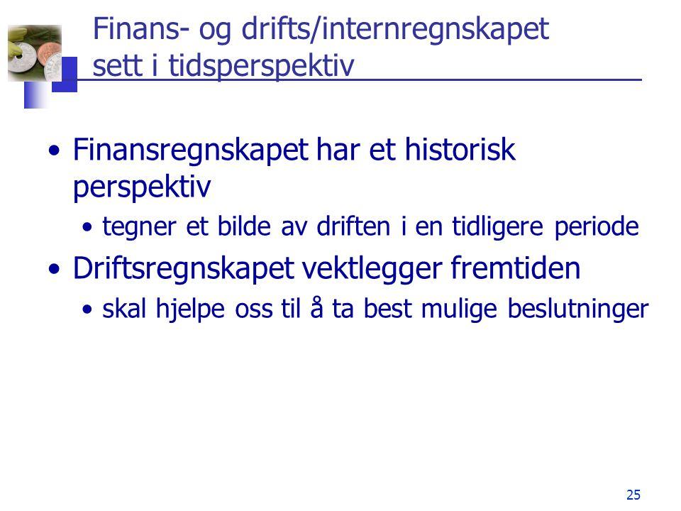 25 Finans- og drifts/internregnskapet sett i tidsperspektiv •Finansregnskapet har et historisk perspektiv •tegner et bilde av driften i en tidligere p