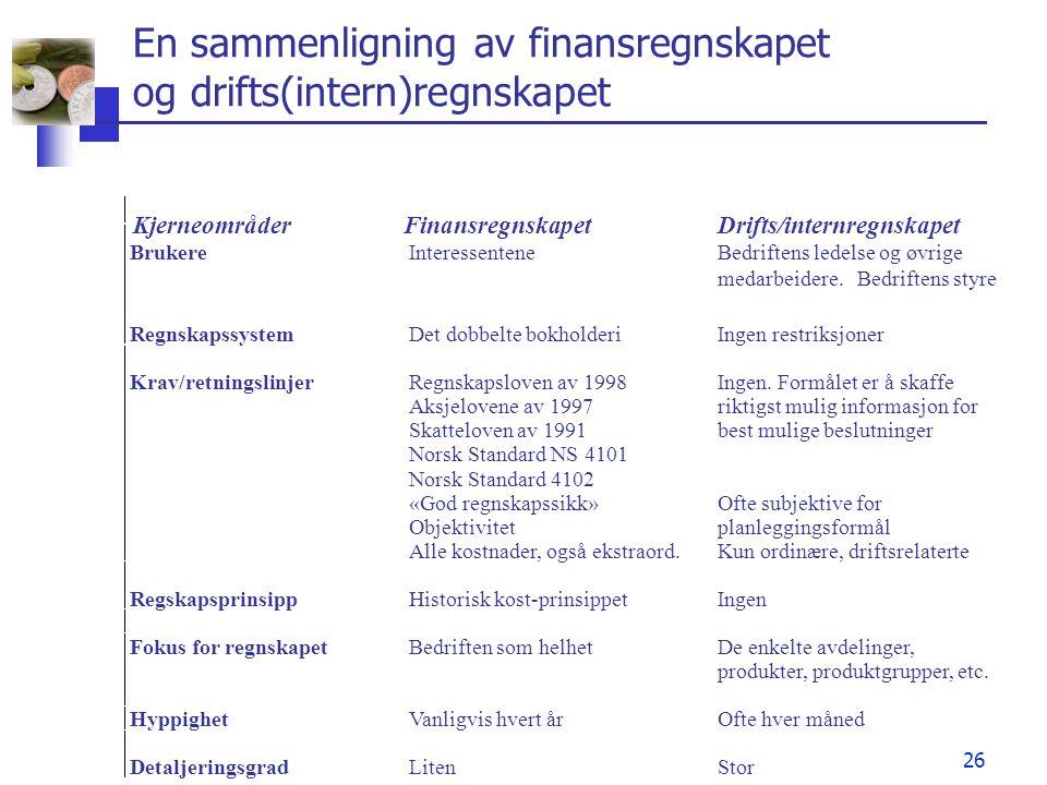 26 En sammenligning av finansregnskapet og drifts(intern)regnskapet KjerneområderFinansregnskapetDrifts/internregnskapet BrukereInteressenteneBedrifte