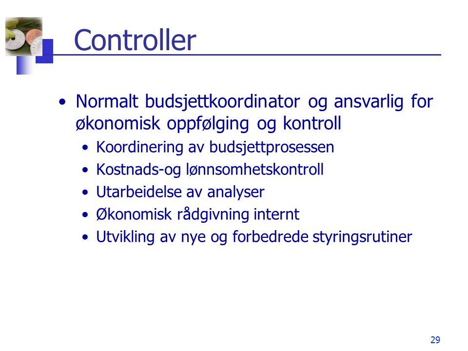 29 Controller •Normalt budsjettkoordinator og ansvarlig for økonomisk oppfølging og kontroll •Koordinering av budsjettprosessen •Kostnads-og lønnsomhe