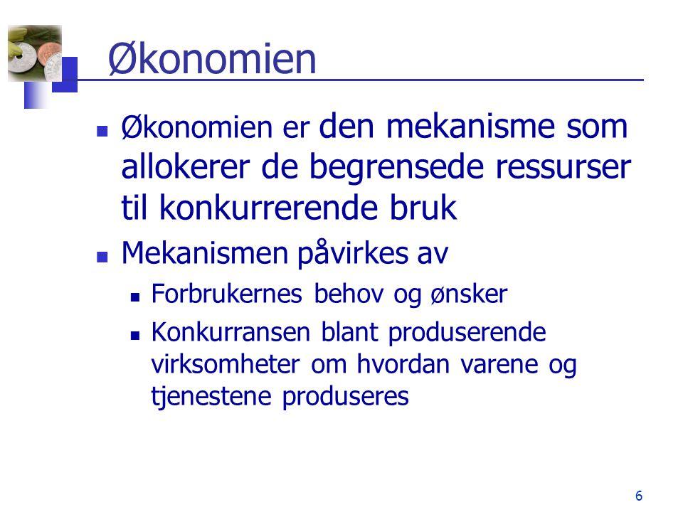 6 Økonomien  Økonomien er den mekanisme som allokerer de begrensede ressurser til konkurrerende bruk  Mekanismen påvirkes av  Forbrukernes behov og