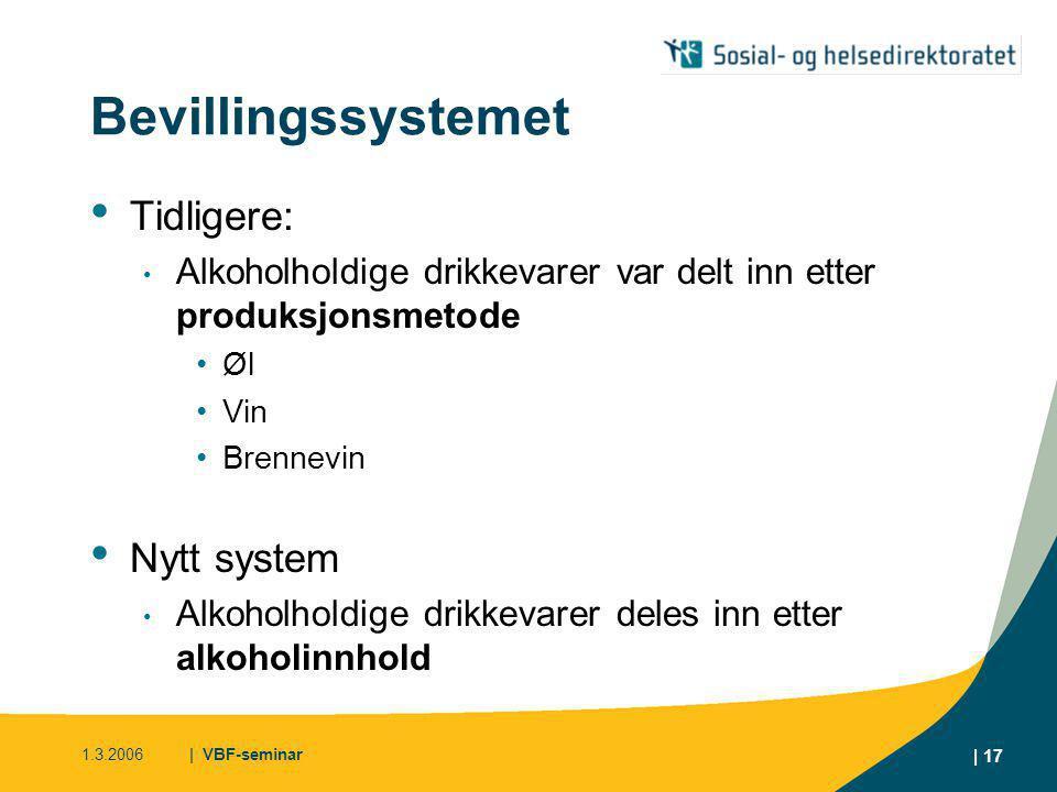 1.3.2006| VBF-seminar | 18 Bevillingssystemet Konsekvenser for bevillingstypene • Tidligere • Øl • Øl og sterkøl • Øl og vin • Øl, sterkøl og vin • Øl, vin og brennevin • Øl, sterkøl, vin og brennevin • Nå • All drikk med høyst 4,7 % • All drikk under 22 % • All alkoholholdig drikk