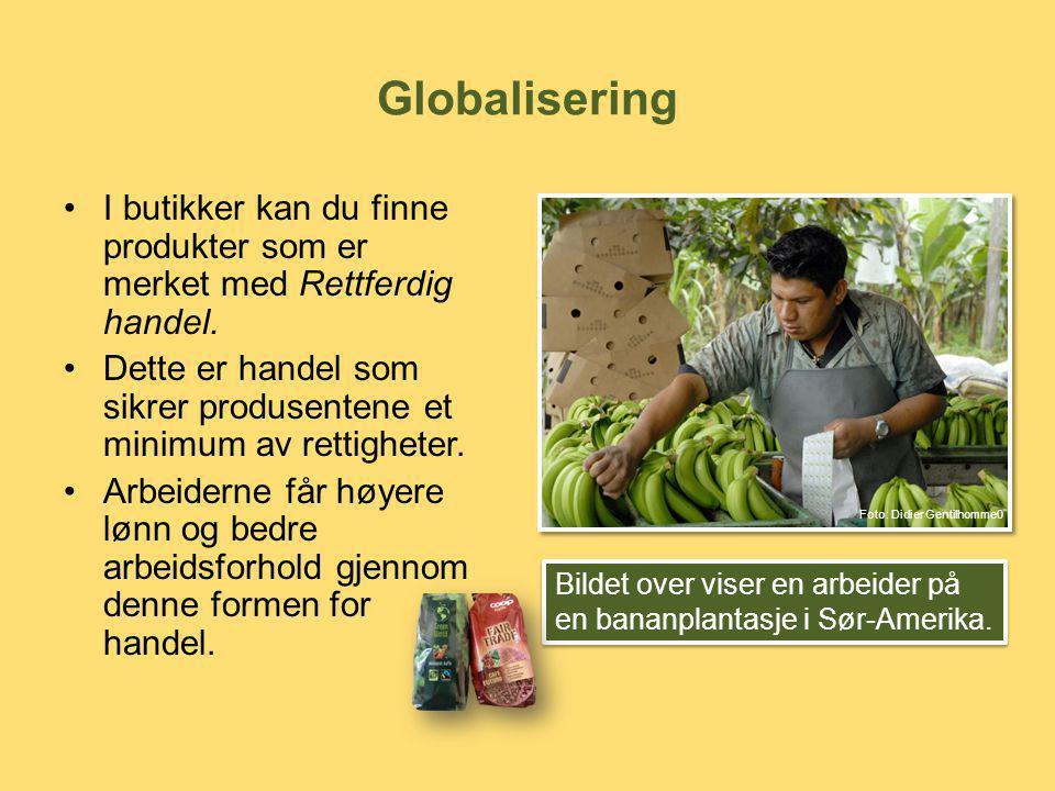 Globalisering •I butikker kan du finne produkter som er merket med Rettferdig handel. •Dette er handel som sikrer produsentene et minimum av rettighet