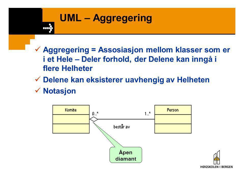 UML – Assosiasjonsklasse (2)  Assosiasjonsklasse indikerer ofte et eget begrep  Assosiasjon blir til klasse…