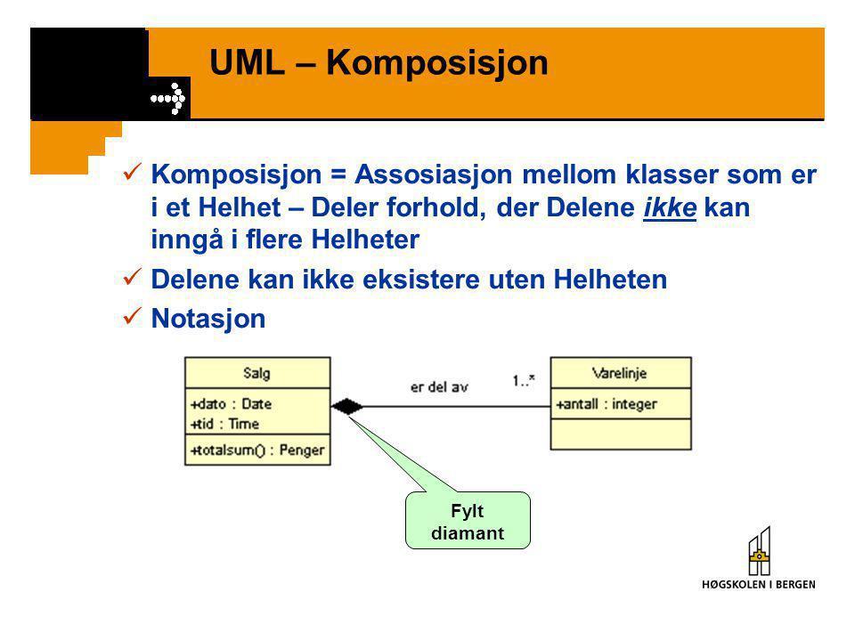 UML – Aggregering  Aggregering = Assosiasjon mellom klasser som er i et Hele – Deler forhold, der Delene kan inngå i flere Helheter  Delene kan eksi