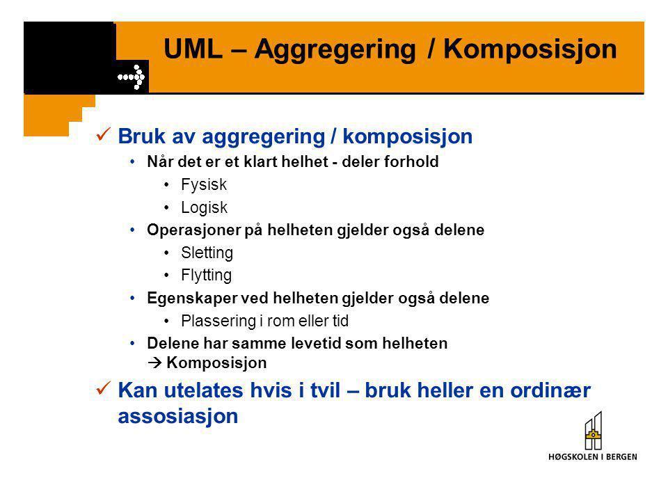 UML – Komposisjon  Komposisjon = Assosiasjon mellom klasser som er i et Helhet – Deler forhold, der Delene ikke kan inngå i flere Helheter  Delene k