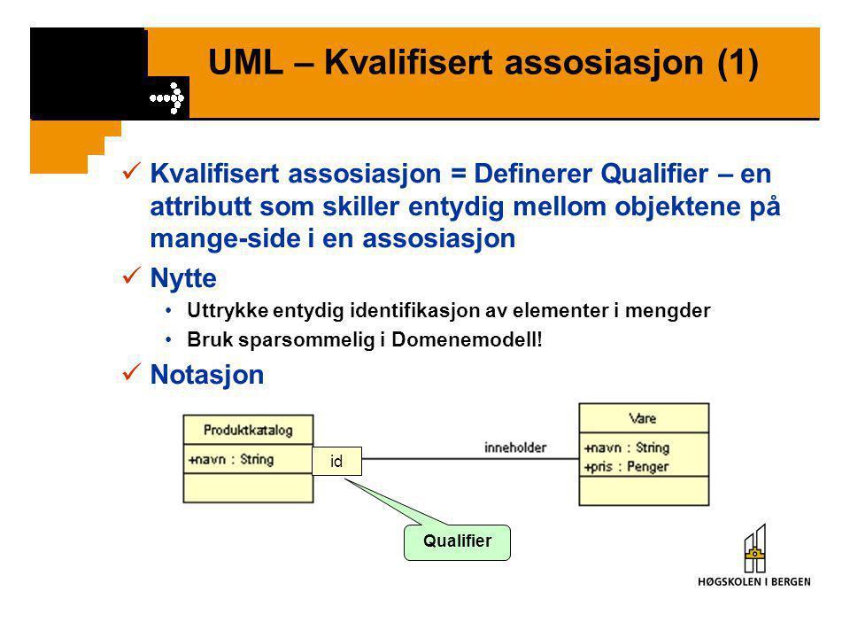 UML – Avledet attributt / assosiasjon (2)  Notasjon  Tilsvarende for avledet assosiasjon / betyr avledet