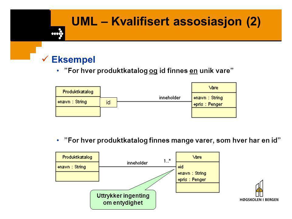 UML – Kvalifisert assosiasjon (1)  Kvalifisert assosiasjon = Definerer Qualifier – en attributt som skiller entydig mellom objektene på mange-side i