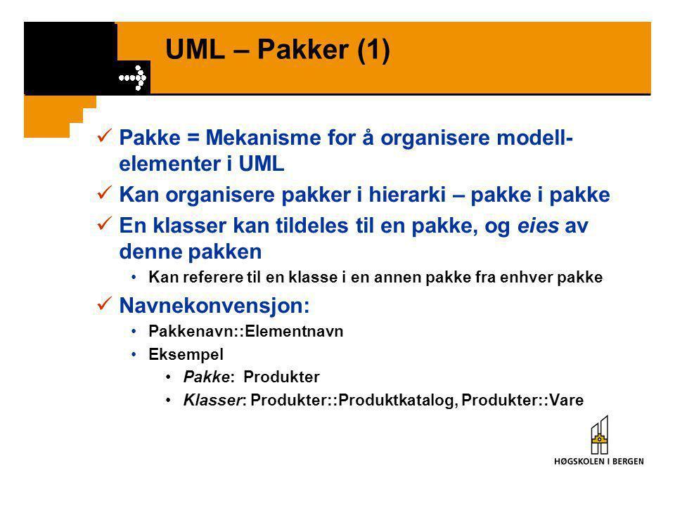 UML – Ordning i assosiasjon  Elementene i ene enden av assosiasjonen er ordnet •Motsatt: Uordnet mengde  Notasjon {ordered} Begrensning (constraint)