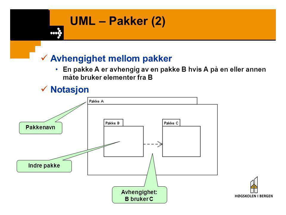 UML – Pakker (1)  Pakke = Mekanisme for å organisere modell- elementer i UML  Kan organisere pakker i hierarki – pakke i pakke  En klasser kan tild
