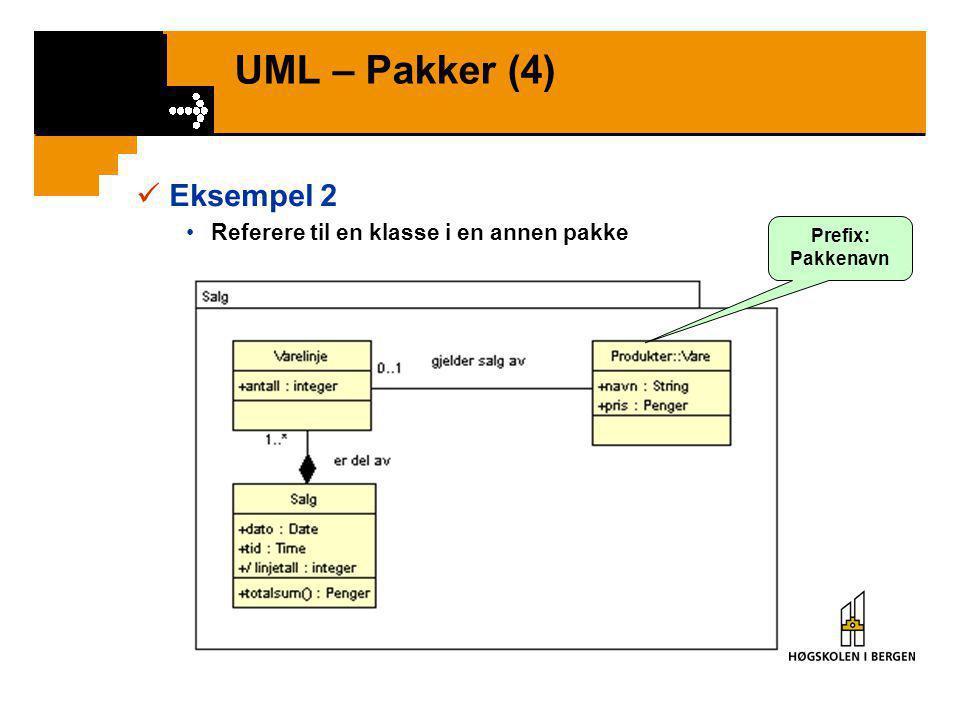 UML – Pakker (3)  Eksempel 1 •Organisere klassemodell i flere pakker