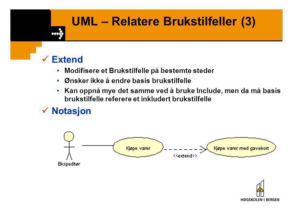 UML – Relatere Brukstilfeller (2)  Include – Eksempel grafisk