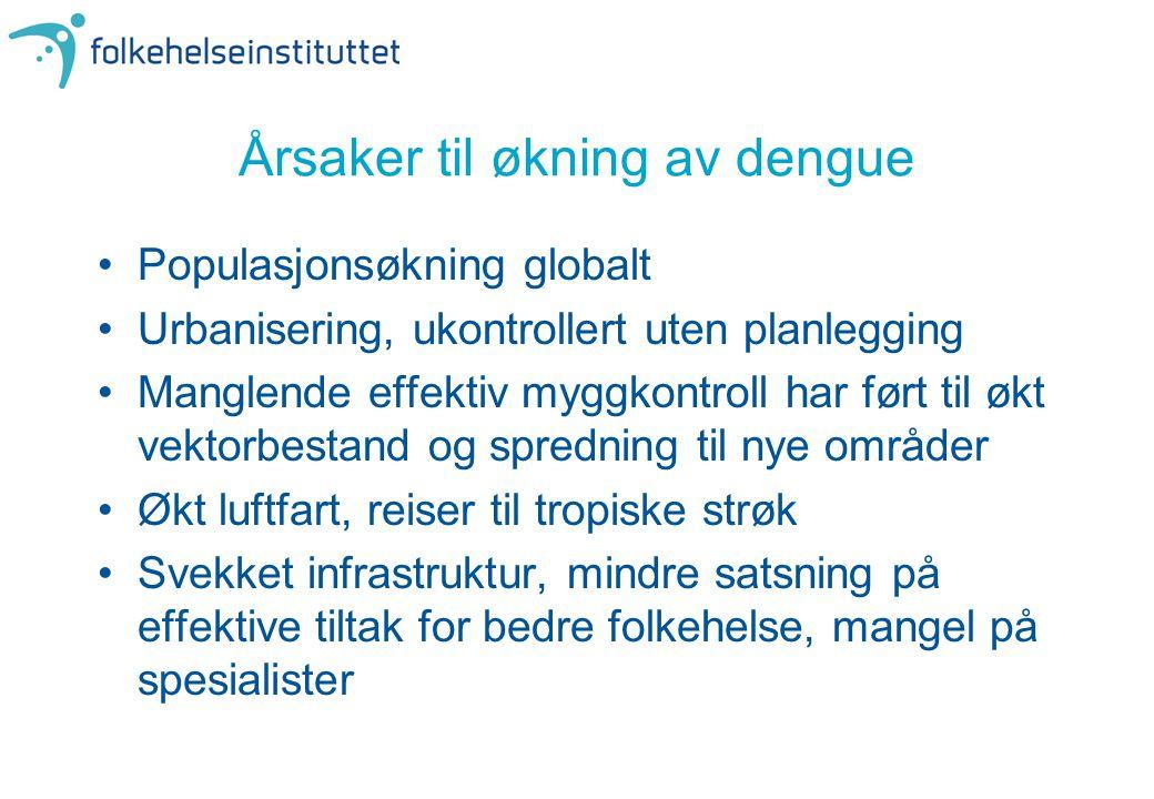 Årsaker til økning av dengue •Populasjonsøkning globalt •Urbanisering, ukontrollert uten planlegging •Manglende effektiv myggkontroll har ført til økt