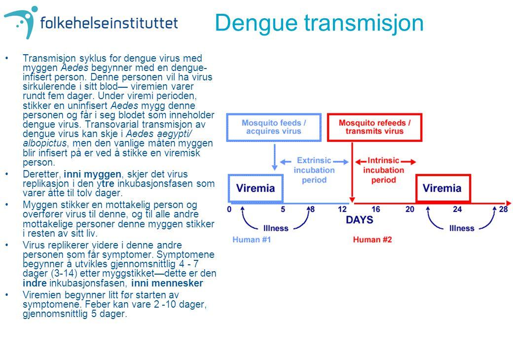 Dengue transmisjon •Transmisjon syklus for dengue virus med myggen Aedes begynner med en dengue- infisert person. Denne personen vil ha virus sirkuler