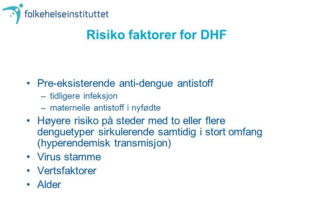 Risiko faktorer for DHF •Pre-eksisterende anti-dengue antistoff –tidligere infeksjon –maternelle antistoff i nyfødte •Høyere risiko på steder med to e