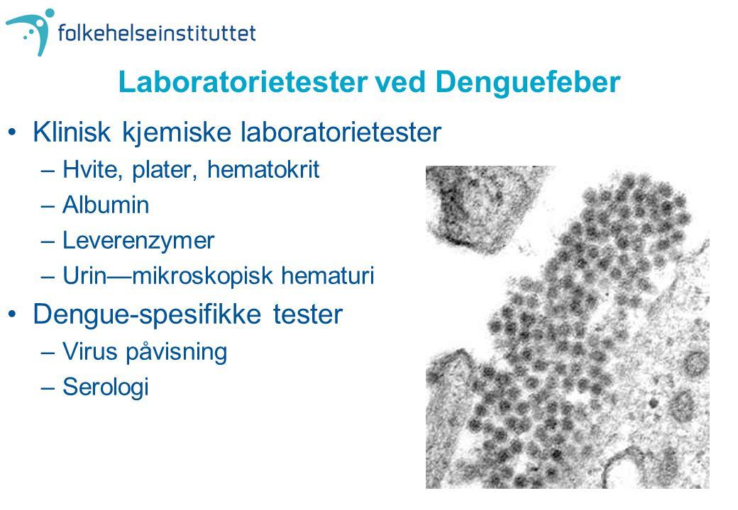 Laboratorietester ved Denguefeber •Klinisk kjemiske laboratorietester –Hvite, plater, hematokrit –Albumin –Leverenzymer –Urin—mikroskopisk hematuri •D