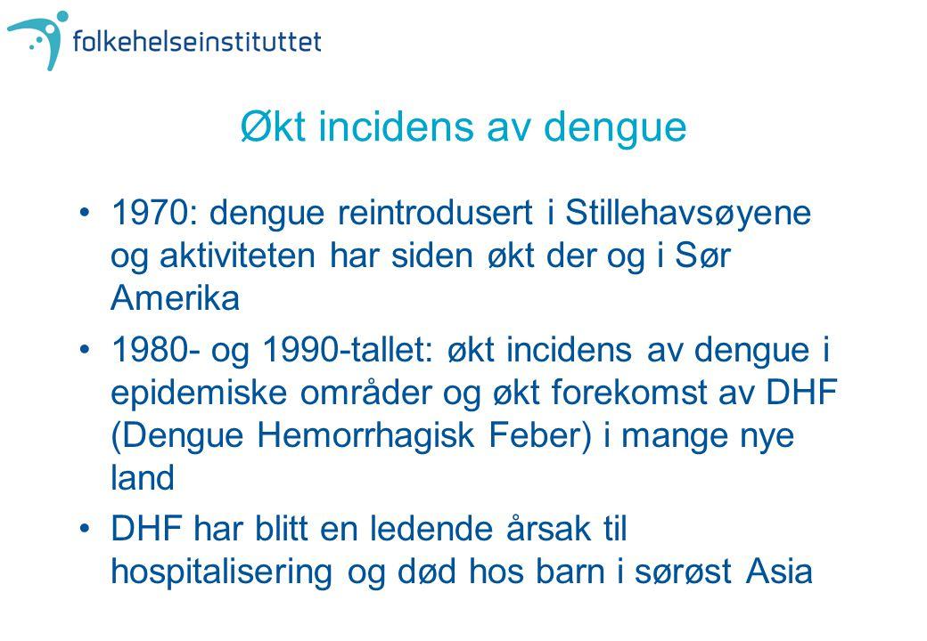 Økt incidens av dengue •1970: dengue reintrodusert i Stillehavsøyene og aktiviteten har siden økt der og i Sør Amerika •1980- og 1990-tallet: økt inci