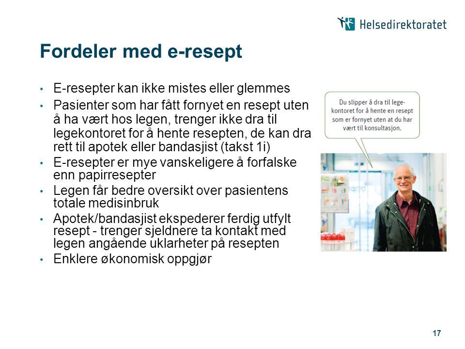 17 Fordeler med e-resept • E-resepter kan ikke mistes eller glemmes • Pasienter som har fått fornyet en resept uten å ha vært hos legen, trenger ikke