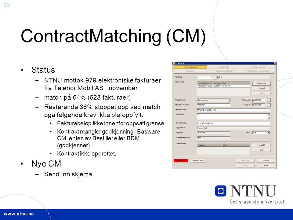 32 ContractMatching (CM) •Status –NTNU mottok 979 elektroniske fakturaer fra Telenor Mobil AS i november –match på 64% (623 fakturaer) –Resterende 36%