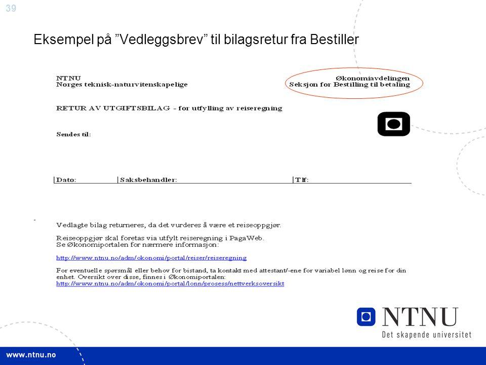 "39 Eksempel på ""Vedleggsbrev"" til bilagsretur fra Bestiller"