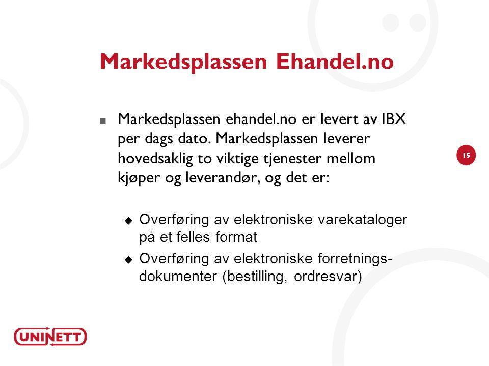 15 Markedsplassen Ehandel.no  Markedsplassen ehandel.no er levert av IBX per dags dato. Markedsplassen leverer hovedsaklig to viktige tjenester mello