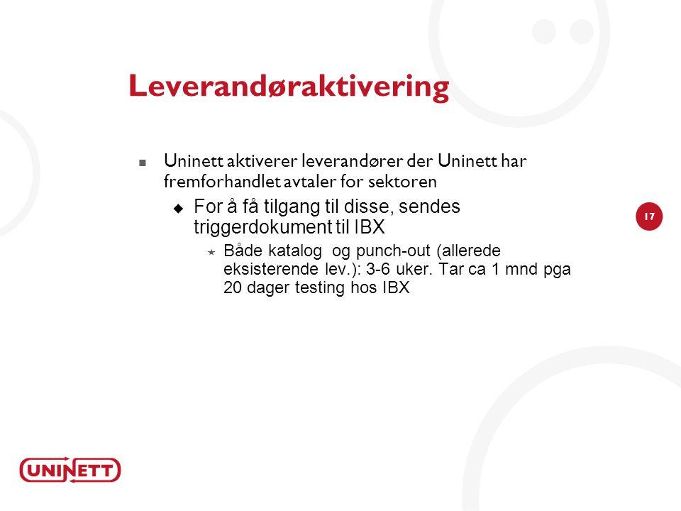 17 Leverandøraktivering  Uninett aktiverer leverandører der Uninett har fremforhandlet avtaler for sektoren  For å få tilgang til disse, sendes trig