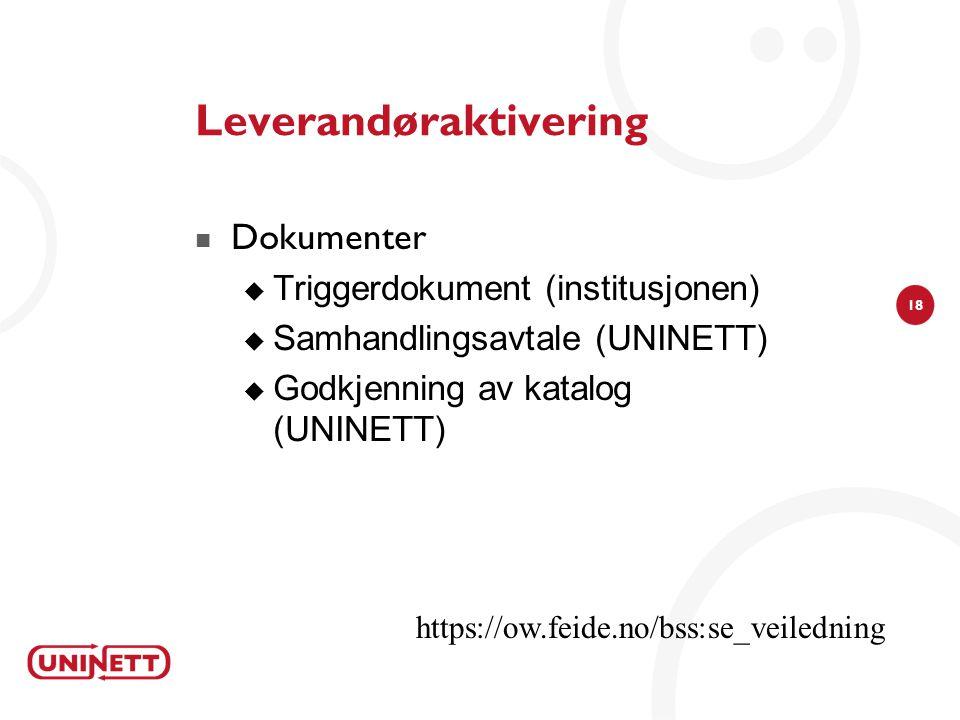 18 Leverandøraktivering  Dokumenter  Triggerdokument (institusjonen)  Samhandlingsavtale (UNINETT)  Godkjenning av katalog (UNINETT) https://ow.fe