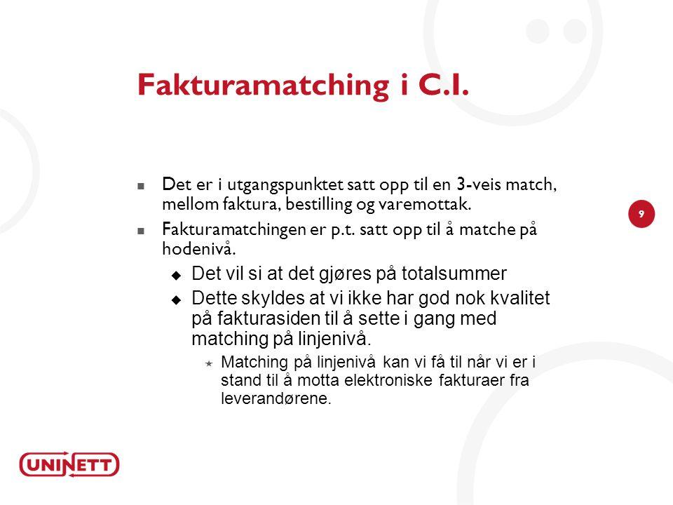 9 Fakturamatching i C.I.  Det er i utgangspunktet satt opp til en 3-veis match, mellom faktura, bestilling og varemottak.  Fakturamatchingen er p.t.