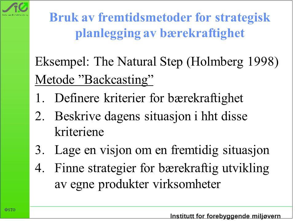 Institutt for forebyggende miljøvern  STØ Bruk av fremtidsmetoder for strategisk planlegging av bærekraftighet Eksempel: The Natural Step (Holmberg 1