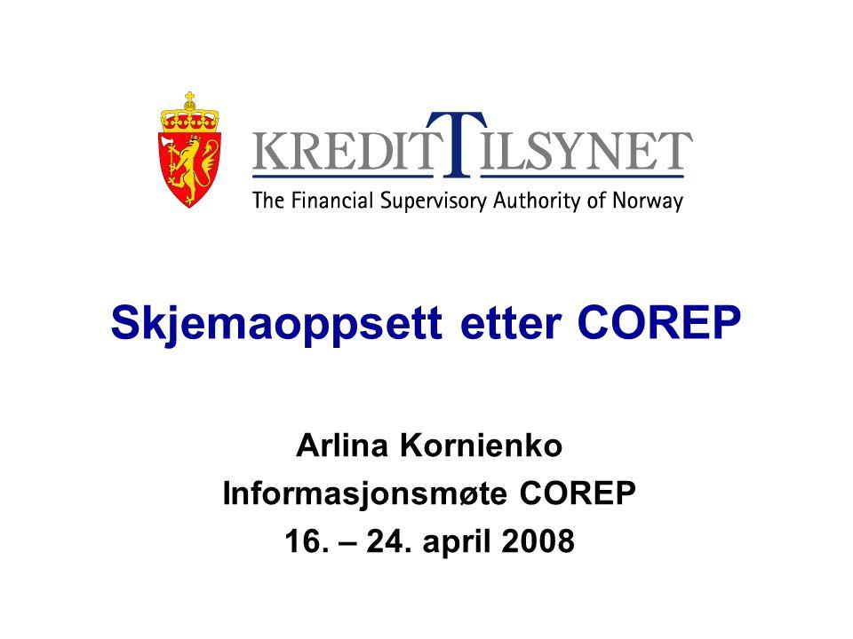 Skjemaoppsett etter COREP Arlina Kornienko Informasjonsmøte COREP 16. – 24. april 2008