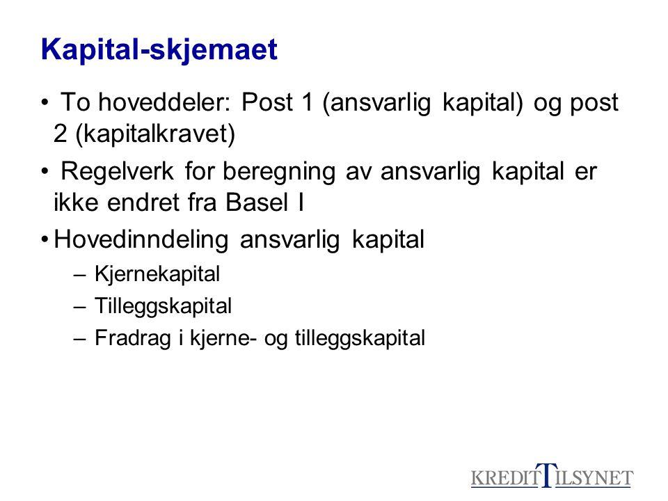 Kapital-skjemaet • To hoveddeler: Post 1 (ansvarlig kapital) og post 2 (kapitalkravet) • Regelverk for beregning av ansvarlig kapital er ikke endret f