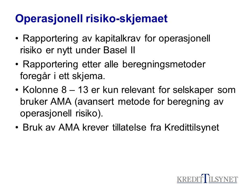 Operasjonell risiko-skjemaet • Rapportering av kapitalkrav for operasjonell risiko er nytt under Basel II • Rapportering etter alle beregningsmetoder